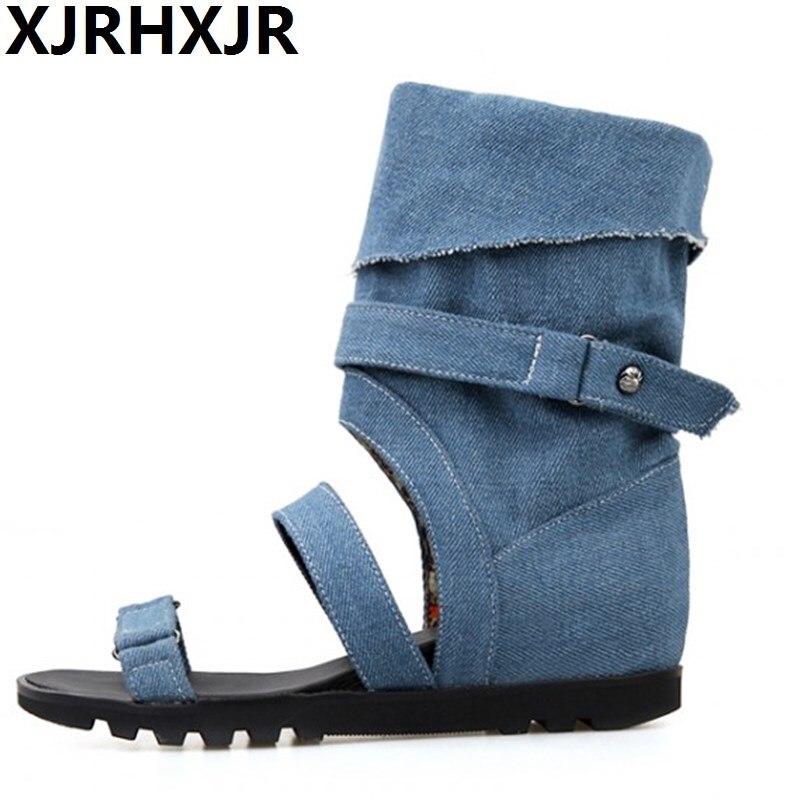 Women New Fashion Spring Summer Denim Cool Boots High Leg 2017 British Style Hidden Heels Open Toe Casual Shoes<br>