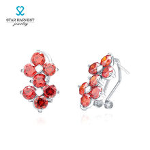 STAR HARVEST 925 Sterling Sliver Rhodium Plated Red Cubic Zircon Flower Stud Earrings for Lady Gift E-0158