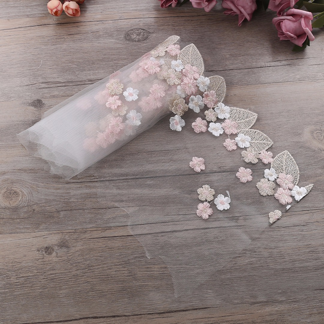 1 Yard Embroidery Lace Stylish Floral Tulle Lace Trim Ribbon Flower Fabric DIY Wedding Trim Sewing Accessories for Making Dress