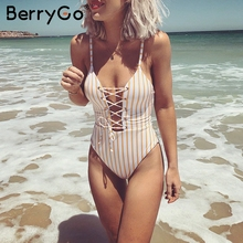 Buy BerryGo Fashion halter striped bodysuit women Sexy split cross lace jumpsuits summer Backless tie yellow romper femme 2018
