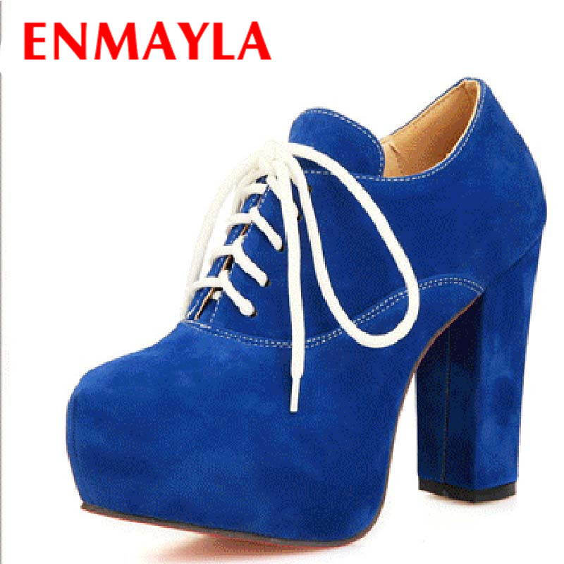ENMAYLA Artistic Solid Large Size 34-43 Women Pumps 5 Colors Round Toe Lace Up Ankle Boots Square Heel Platform Pumps Women<br>