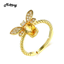 MoBuy MBRI019 Lovely Bee Natural Gemstone Citrine Ring 925 Sterling Silver 14K Gold Plated Adjustable Fine Jewelry For Women(China)