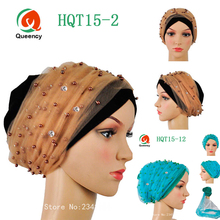 Already tie Multi-colored African turban gele with net beaded Beauty african scraf women african headtie headwrap for sale.