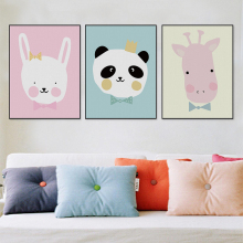 Modern Giraffe Panda A4 Poster Print Cute Cartoon Animals Wall Art Pictures Nordic Kids Baby Room Decor Canvas Painting No Frame