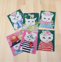 Hand dyed 6 Assorted Cotton Linen Printed Quilt Fabric For DIY Sewing Patchwork Home Textile Decor 12*9.5cm cute cat