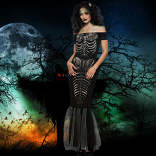 Adult Evening Party Dress Halloween Costume Skeleton Costume Dress Off Shoulder Cosplay Party Maxi Mermaid Dress Women Black