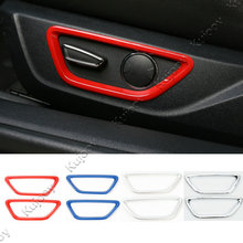 2Pcs ABS Red/ Silver/ Blue Car Seat Adjust Control Button Decoration Ring Frame Trim Cover Sticker For Ford Mustang 2015 2016(China)