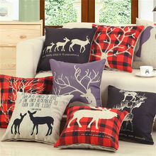 Nordic Elk Deer Antlers Festival Christmas Decorative Pillow Covering Linen Throw Sofa Seat Car Cushion Cover Red Plaid Purple