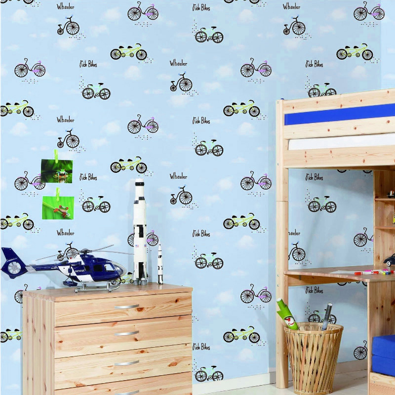 beibehang childrens room wallpaper simple blue sky environmental protection nonwoven warm pink boys and girls bedroom wallpaper<br>