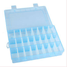 Brand New Blue Plastic 24 Slots Compartment Earrings Jewelry Beads Storage Box Case Organizer(China)