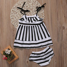 2017  New 2Pcs Baby Kids Girls Suspender Dress Tops+zebra Strip Pants Outfits Set Clothing