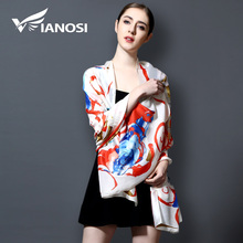 [VIANOSI] 2017 Luxury Brand 100% Silk Scarf bandana Smooth Printing Shawls and Scarves Women Scarf With Dress