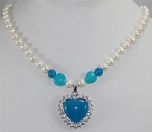 Wholesales -Jewelry beautiful white freshwater pearl  & blue heart shape  jades pendant necklace free shipping