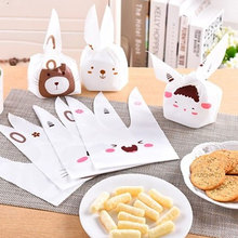 Newest 50Pcs Cute Bunny Cookies Bag Rabbit Ear Plastic Candy Gift Bag Box Holloween Wedding Decor Christmas Party Supplies(China)