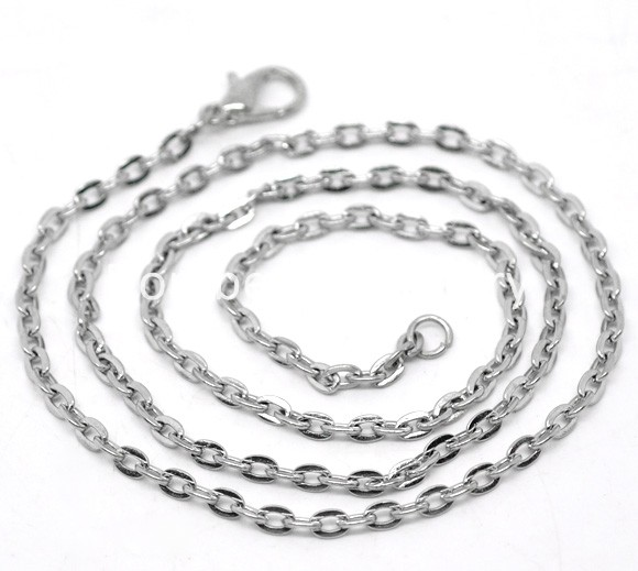 "Doreen Box hot- 12 Silver Tone Lobster Clasp Link Chain Necklaces 18"",Links:4x2.5mm, B12715"
