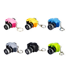 Colorful Camera Key Chain With Sound LED Flashlight Keychains Fancy Mini Camcorders Key Ring Simulation Cartoon Camera As Gifts(China)