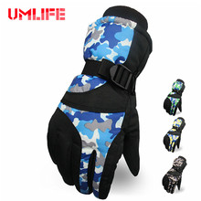 UMLIFE Men Ski Gloves Winter Warm Camouflage Snowboard Gloves Outdoor Snowmobile Motorcycle Riding Waterproof Windproof(China)