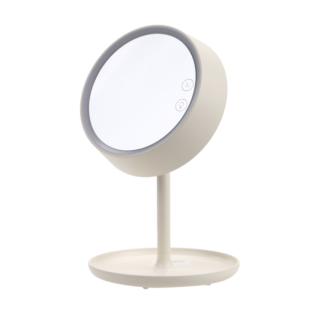 USB Charging LED Makeup Mirror With Table Lamp Bedroom Decor Table Holder Storage Cosmetic Mirrors Girl Lady Gift White/Pink<br>