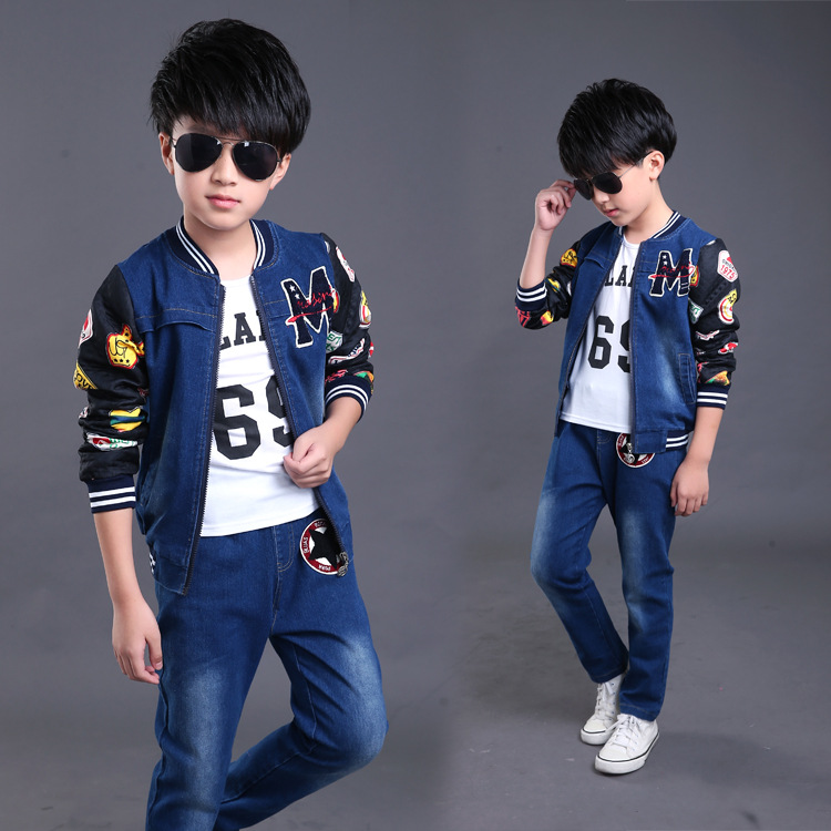 3 Pcs Suit Jeans Clothing Set For Teen Big Boys Girls Denim ClothesTracksuits Embroidery sequined CoatsJacket + Pants + T shirt <br>