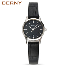 BERNY Women Sport Watch Black Gold Fashion Watch 2017 Famous Brands Quartz Ladies Wrist Watches the Best Luxury Leatherd Clock