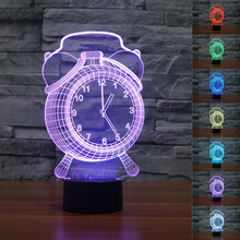 Colorful 3D Alarm Clock Lamp Visual LED Night Light for Kids USB Desk Lamps Light With Touch Button  Baby Sleeping Lamp Chrismas