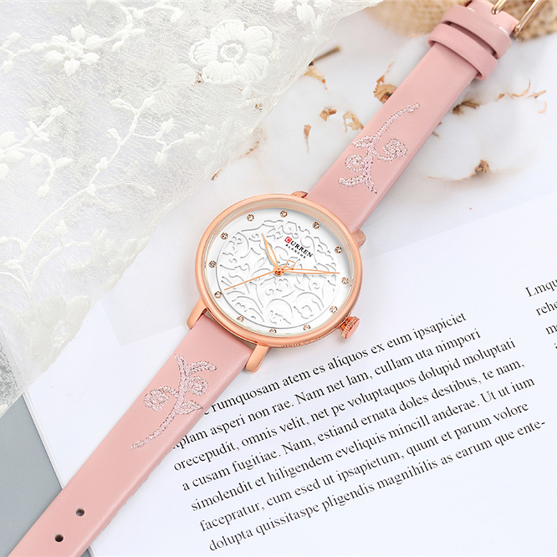 Top Brand CURREN Women Watches Pink Leather Wristwatch with Rhinestone Ladies Clock Fashion Luxury Quartz Watch Relogio Feminino