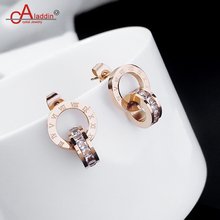 Aladdin Roman numerals Titanium steel Eardrop Stainless steel rose gold Earring Jackets Classic style Anti-allergy birthday gift(China)