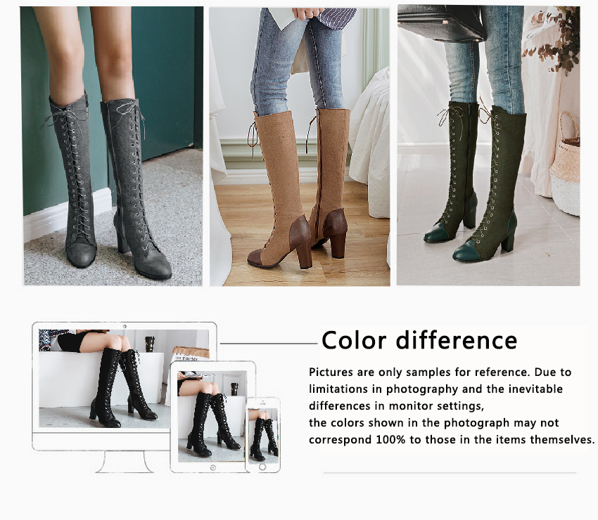 2018 Fashion Lace Up, Women's Knee High Boots, Round Toe Pu Leather, Square Heel Ladies Boots 49