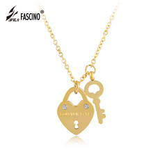 2017 New Fashion Jewelry Famous Brand Stainless Steel Lock Key Pendant Necklace For Women Girls Love Gift Collier (AU820027)
