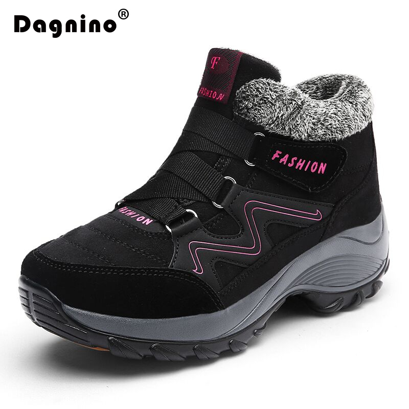 DAGNINO 2017 Women Snow Boots Winter Warm  Suede Boots Thick Bottom Platform Waterproof Ankle Boots Sneaker size 35-41<br>