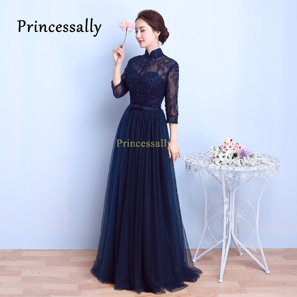 Navy bridesmaid dress high neck promotion shop for promotional high quality navy blue bridesmaid dresses lace long elegant vintage high neck thress quarter sleeves long prom party gown 2017 ombrellifo Image collections