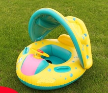 2016 New  Inflatable Toddler Baby Swim Ring Float Seat Swimming Pool Seat with Canopy