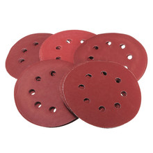 "25pcs/set 5"" 8 Hole Flocking Sandpaper Sanding Discs dark red For Beads Wooden Bead Polishing(China)"