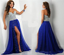 In stock 2016 New hot Fashion Sweetheart Crystal Beaded High Slit Long A Line Royal Blue Chiffon Evening Dress Prom Party Dress
