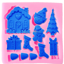 Food Grade 3D Christmas Tree Bear Hat Stockings Silicone Mold Santa Claus Fondant Cake Decorating Cookie Mold M120