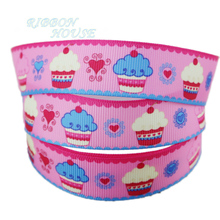 "7/8"" (22mm) printed grosgrain pale pink candy cake ribbon colored decoration ribbons"