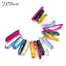 Kiwarm New Rainbow Flame Aura Quartz Sticks Titanium Crystal Points Drilled Beads Pendant for Home DIY Gift Craft Ornament Decor