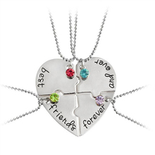 2017 Creative Europe And The United States Accessories Best Friends Forever And Ever Love Heart Charm Stitching Necklace