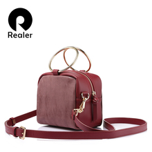 REALER brand spring new fashion women crossbody bags female shoulder bag metal ring handbag ladies small messenger bags(China)