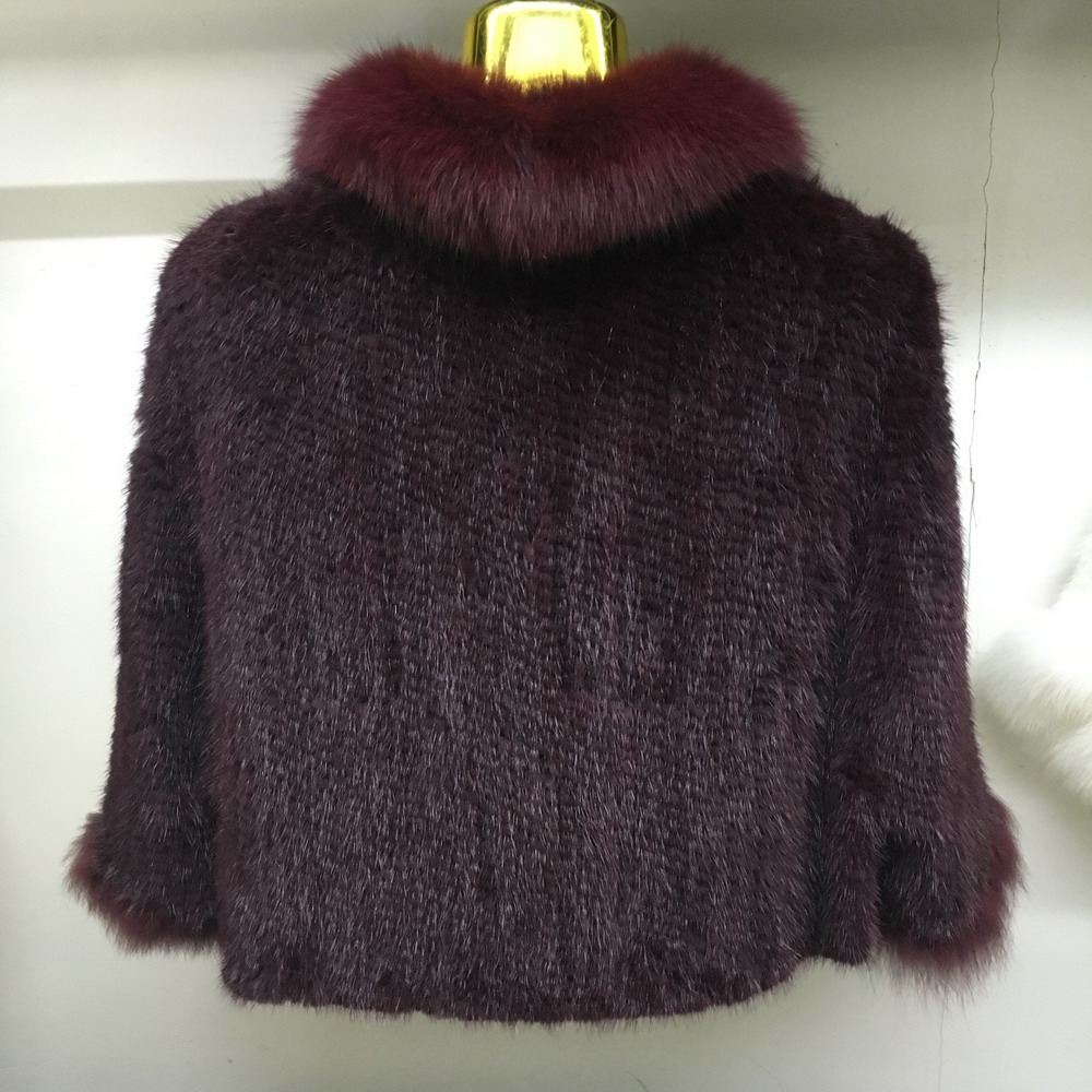 Luxury Mink Fur Shawl For Women Poncho Cape Knitted Genuine Fur Jacket Coat Female Winter Wraps Outerwear (9)