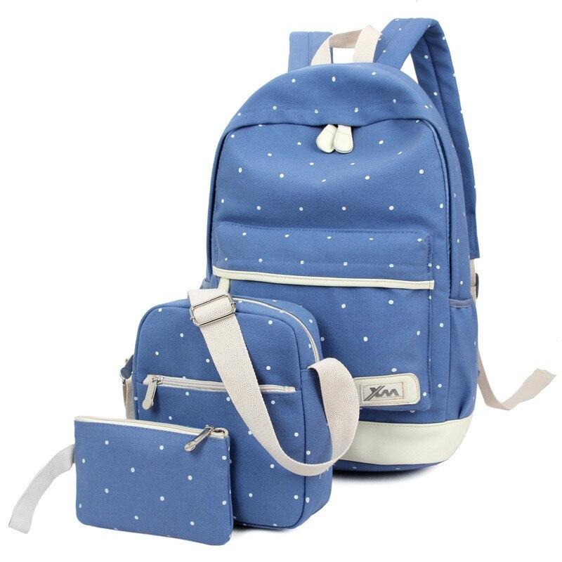 Canvas School Bags For Teenagers backpack women Three piece suit shoulder bags 3 Pcs mochila Fashion knapsack Plaid QYY1011<br>