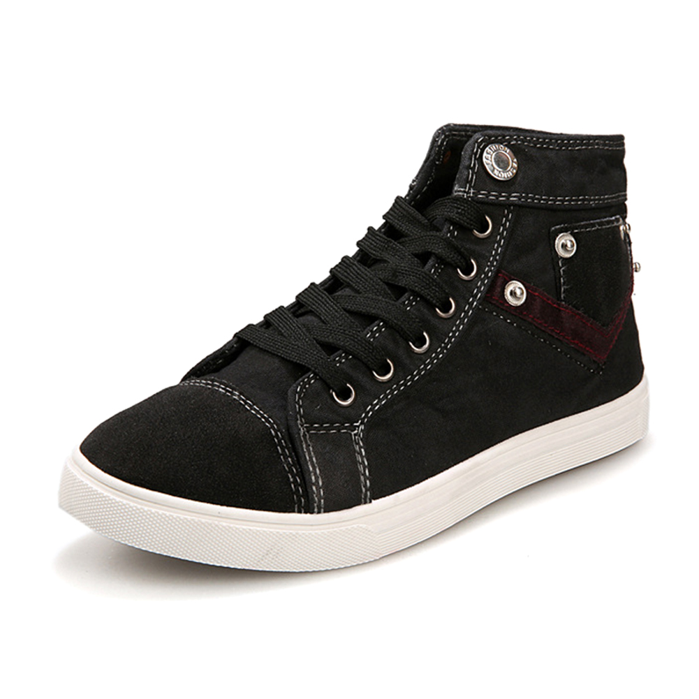 spring and summer mens high top canvas casual shoe Black 10<br><br>Aliexpress
