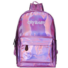 Mini Travel Bags Silver Blue Pink Laser Backpack Women Girls Bag PU Leather  Holographic Backpack School Bags for Teenage Girls e694b5c89c76