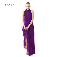 Buy Women Elegant Bohemian Beach Dress Hang-Neck Sexy Chiffon Halter Dress Floor Length Dress Perfect Woman Two kinds wear method