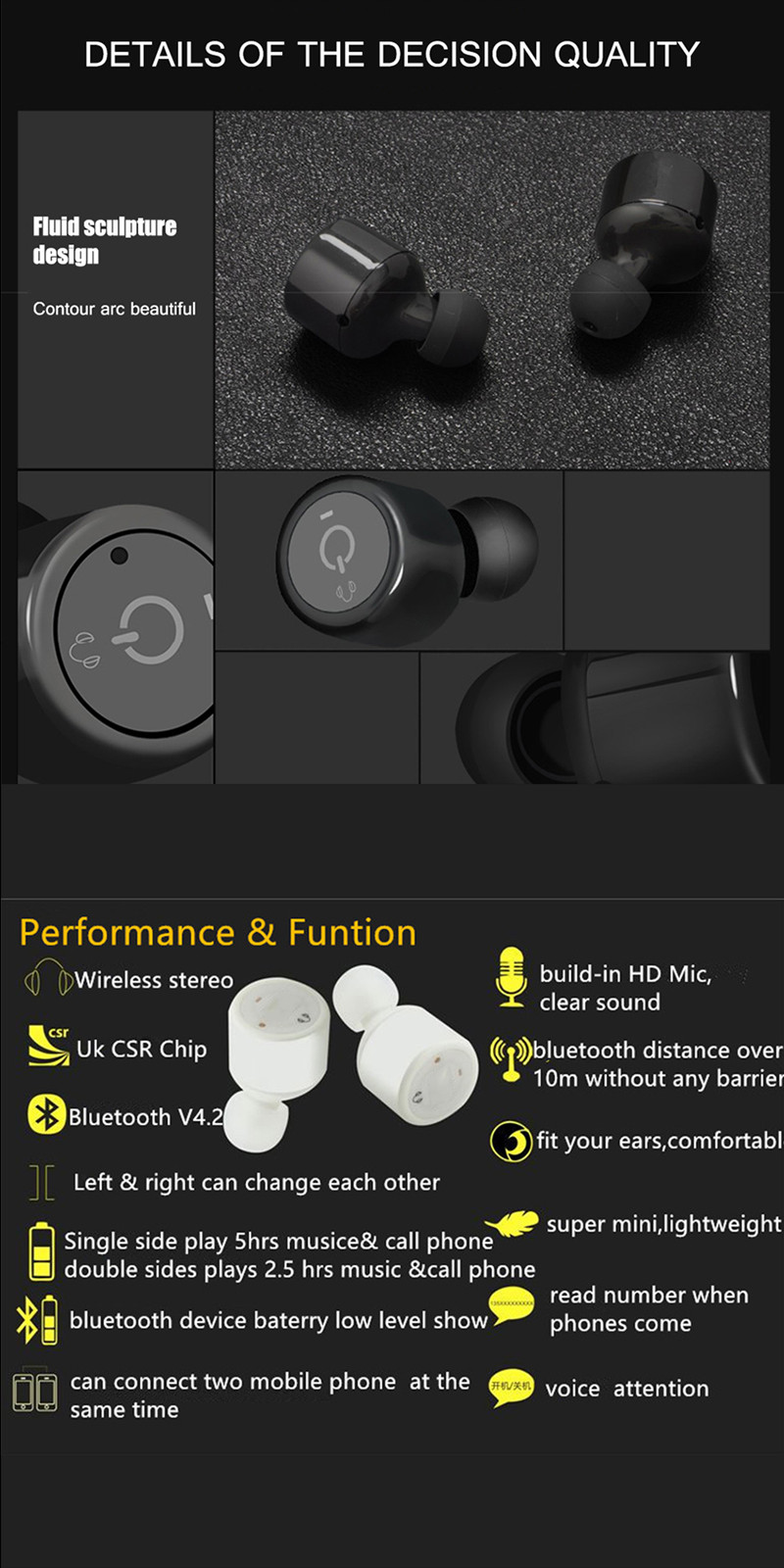 BANMIX X1T Twins True Wireless Bluetooth Earphone Smart Mini Double In-Ear Stereo Music Earphones Earbuds With MIC Voice Prompt