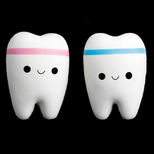 Cute Tooth Jumbo Squishy Slow Rising Squeeze Stress Hand Soft Toy Phone Pendant(China)