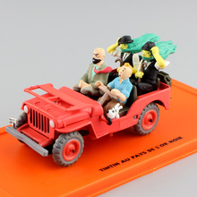 1:43 Scale Tintin Land of Black Gold Willys MB 1943 vintage diecast metal model collection toys with action figure miniature car