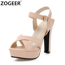 Plus Size 34-43 New 2017 Summer Women Sandals Fashion High Heels Sandal Sexy Gladiator Platform Party Dress Shoes Woman pink