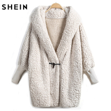 SHEIN Hooded Outwear Winter Newest Fashion Design Women's Apricot Batwing Long Sleeve Loose Streetwear Hooded Coat(China)