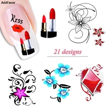 AddFavor 1Sheet Nail Art Flower Water Transfer Sticker Nails Beauty Decals Temporary Tattoos Fingernail Tips Decorations Tools